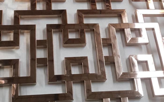 不锈钢中式花格屏风细节